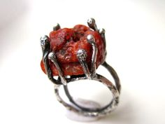 Dio Ti Ama - big chunky primitive organic vermillion red orange carnelian raw stone nugget & sterling silver prong caveman metalwork ring by LoveRoot