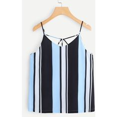SheIn(sheinside) Strappy Back Striped Cami Top ($14) ❤ liked on Polyvore featuring tops, multicolor, cami tank top, spaghetti strap tank, spaghetti-strap tank tops, stripe tank and cami tank