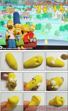 лепка Симпсоны -Gumpaste (fondant) The Simpson family characters tutorials - Страница 2 - Мастер-классы по украшению тортов Cake Decorating Tutorials (How To's) Tortas Paso a Paso Bolo Simpsons, Simpsons Party, The Simpsons, Homer Simpson, Crea Fimo, Rick E, Cake Hacks, Chocolate Diy, Fondant Animals