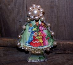 Ornament Made from a Vintage Postcard and Cookie Cutter
