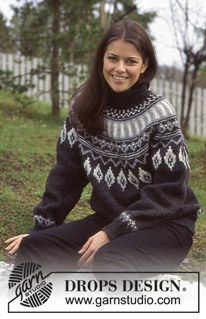 Free knitting patterns and crochet patterns by DROPS Design Fair Isle Knitting Patterns, Fair Isle Pattern, Sweater Knitting Patterns, Knit Patterns, Free Knitting, Drops Design, Icelandic Sweaters, Drops Patterns, Pulls