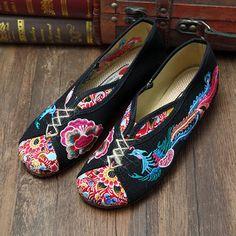 Phoenix Embroidered Old peking Vintage Flat Shoes