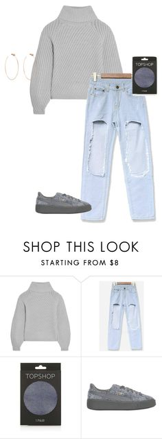 """""""./../../...///"""" by anna-mae-equils ❤ liked on Polyvore featuring Iris & Ink, Topshop, Puma, Diane Kordas, Winter, cute, tumblr and powerlook"""