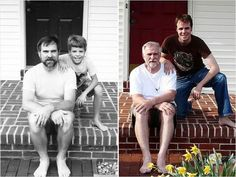 Me then & me now: hilarious recreations of childhood photos Funny Family Photos, Cute Family Pictures, Old Pictures, Funny Pictures, Then Vs Now, Photo Recreation, Future Photos, Childhood Photos, Family Humor