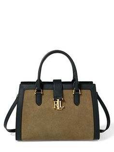 f93be8fbb598 Contrast suede trim and a bold signature Lrl plaque give this Lauren Ralph  Lauren carry-everywhere leather tote a city-chic update.
