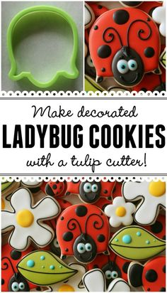 Make adorable decorated ladybug cookies with a tulip cutter (Could make an equally cute turtle cookie! Summer Cookies, Fancy Cookies, Iced Cookies, Cute Cookies, Royal Icing Cookies, Cookies Et Biscuits, Cupcake Cookies, Cookie Frosting, Cookie Favors
