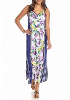 Tommy Bahama  Floral and Stripe Midi Dress