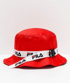 Complete your athletic looks in the Satin Jacquard Red Bucket Hat from FILA. This unique bucket hat from FILA features a sleek, satin construction in red, and is highlighted by a webbed strap around the crown with an adjustable clip closure and repeating Red Bucket Hat, Bucket Hat Outfit, Outfits With Hats, Trendy Outfits, Cute Outfits, Funny Hats, Cute Hats, Floppy Straw Hat, Summer Hats