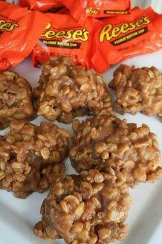 Reese rice krispies. Melt 4 Reese cups, 2 tbsp peanut butter and 3 tbsp butter in a pan. Fold in 3 cups rice krispy. Drop and cool on wax paper