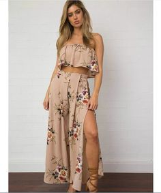 f1bcc29999 Olivia BronsonJumpsuits · 2017 New Vintage Off shoulder print long two  piece set pant Women sexy loose chiffon playsuit