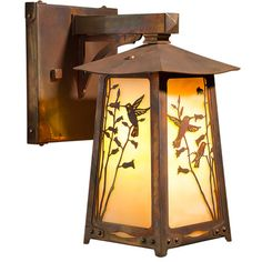"America's Finest Lighting Company Baldwin 1 Light Outdoor Wall Lantern Size: 16"" H x 9.5"" W x 13"" D, Shade Finish: Gold Iridescent, Finish: Texture..."