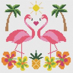 Tropical Flamingo Summer Sun Modern Cross Stitch Pattern, You can cause really particular styles for textiles with cross stitch. Cross stitch types will nearly amaze you. Cross stitch beginners will make the types they want without difficulty. Tiny Cross Stitch, Cross Stitch For Kids, Cross Stitch Bookmarks, Cross Stitch Heart, Cross Stitch Borders, Modern Cross Stitch Patterns, Cross Stitch Animals, Cross Stitch Flowers, Cross Stitch Designs