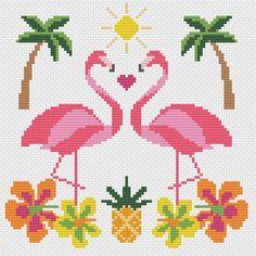 Tropical Flamingo Summer Sun Modern Cross Stitch Pattern | Etsy
