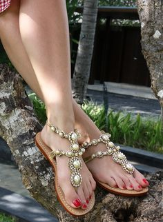 Sparkly Sandals, Beaded Sandals, Gold Ankle Chain, Mystique Sandals, Bridal Sandals, Leather Gladiator Sandals, Jeweled Sandals, Gorgeous Feet, Fashion Sandals