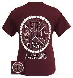 Texas A&M Aggies Arrow Pearls Logo Girlie Bright T Shirt                                                                                                                                                                                 More