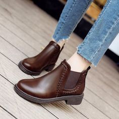 Boot Type: Fashion Boots Material: PU Outsole Material: Rubber Toe: Round Toe Closure Type: Elastic Shaft Height: Platform Height: Heel Height: He Spring Shoes, Winter Shoes, Brown Boots, Women's Boots, Ankle Boots, Wedge Shoes, Flat Shoes, Flat Sandals, Shoes Heels