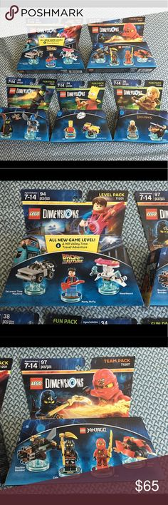 Five piece set Lego dimensions NIP Thank you for viewing my listing, for sale is a giant lot of 5, Lego dimensions, brand-new in the package, level packs, team packs, and fun packs If you have any questions or would like additional photos please feel free to ask. Team packs: Ninjago 71207  Level packs: Back to the future 71201  Fun packs: Lord of the rings 71219 Wizard of Oz 71221 Bart Simpson 71211 Lego Accessories