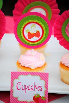 Pink cupcakes at a strawberry birthday party! See more party ideas at CatchMyParty.com!