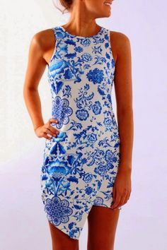 Love the modest neckline, the interesting hemline and the great china blue print. Jean Jail Let's Go Racing Blue Dress