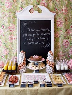 Ideas for a beautiful brunch table buffet for any occasion. This display makes brunch entertaining more special and will wow your guests. Baby Shower Brunch, Breakfast Baby Showers, Fiesta Shower, Shower Party, Bridal Shower, Shower Set, Brunch Party, Brunch Wedding, Cozy Wedding