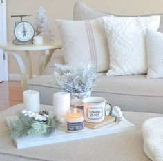 Cozy Farmhouse Christmas Living Room. Neutral farmhouse style Christmas decor.