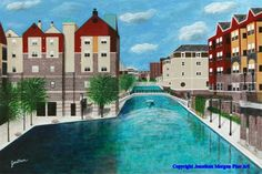 Lets meet at the Canal. Acrylic painting.