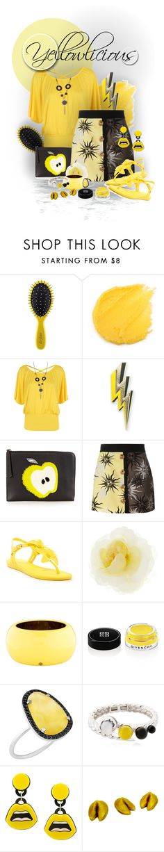"""""""Yellow Lucius"""" by sisilem ❤ liked on Polyvore featuring Drybar, WearAll, Anya Hindmarch, Fendi, FAUSTO PUGLISI, Melissa, Gucci, Kate Spade, Givenchy and Christina Debs"""