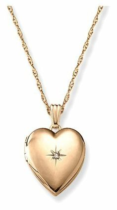"""14k Yellow Gold Filled Heart Locket with Diamond-Accent, 18"""" Amazon Curated Collection. $49.00. This item is handcrafted in the USA. Save 48% Off!"""