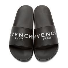 Black Slip-On Sandals