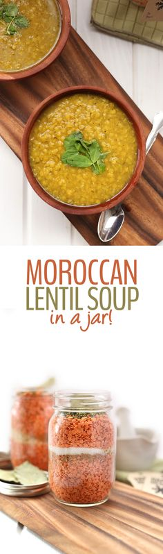 A recipe for healthy moroccan lentil soup that can be pre-made and packaged in a jar. Just add water for a meal in one that you can gift to friends and family. This makes a wonderful homemade DIY Christmas gift especially to make for teachers, the mailm Healthy Soup Recipes, Clean Eating Recipes, Jar Recipes, Cookie Recipes, Pumkin Recipes, Recipies, Vegan Recipes, Vegetarian Soups, Lebanese Recipes
