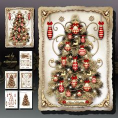 Golden Christmas Tree with Decorations Card Kit on Craftsuprint designed by Atlic Snezana - Golden Christmas Tree with Decorations Card Kit: 5 sheets for print with decoupage for 3D effect plus few sentiment tags (for your own personal text) - Now available for download!