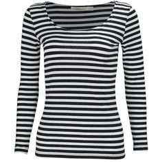KalvonFu Women's Rayon Striped White Black Long Sleeve T-Shirt Blouse ($13) ❤ liked on Polyvore featuring tops, blouses, black and white blouse, stripe blouse, stripe top, black white blouse and black and white top