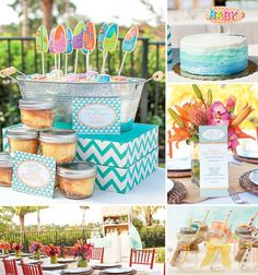 Such an amazing Tropical/Surfing themed shower! love these colors!!