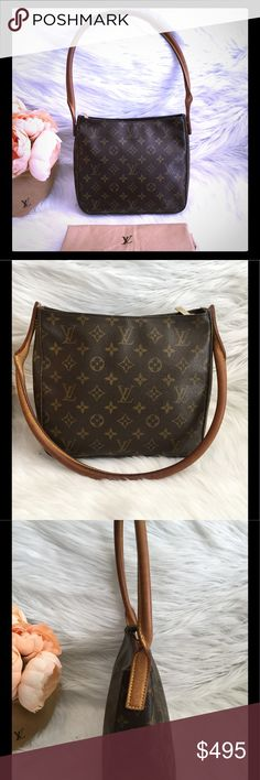 "💕AUTH LOUIS VUITTON LOOPING BAG MM💕 Preloved in very good condition. monogram coated canvas Louis Vuitton Looping MM with brass hardware, tan vachetta leather trim, single rolled shoulder straps, creme Alcantara lining, dual pockets at interior wall; one with zip closure and zip closure at top. Date code reads MI0031 (Made in France 2001) see pics for condition.                  Shoulder Strap Drop: 9"" Height: 8.5"" Width: 9.5"" Depth: 4.5"" Louis Vuitton Bags Shoulder Bags"