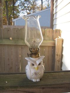 Owl Oil Lamp, Clear Fluted Chimney, White Ceramic With Flower Decorations, 9 Inches Tall With Chimney, Round Unused Wick Included by Mybeachandmore on Etsy