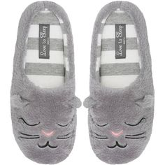 M&Co Cat Fleece Mule Slippers (58 PLN) ❤ liked on Polyvore featuring shoes, slippers and grey