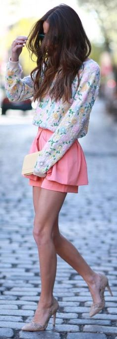 ♛ ℘opular ℘rincess • early Spring outfit • chilly sunny days • floral shirt & rose skort
