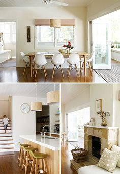 My favourite house - Byron bay NSW Coastal Living Rooms, Living Spaces, Dining Area, Kitchen Dining, Dining Room, The Atlantic Byron Bay, Australian Homes, Australian Beach, Home And Deco