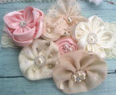 Ivory Blush Light Pink Gold Bridal Satin & by RhysandRaesCreations, $30.00