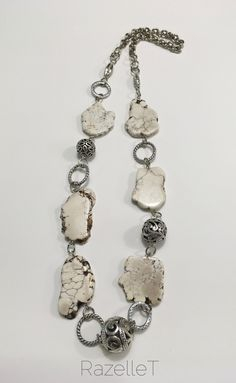 Cream howlite and metal long neckpiece by RazelleT. Free Spirit, Jewelry Necklaces, Drop Earrings, Boho, Cream, Chain, Metal, Creative, Fashion