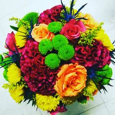 Vibrant wedding bouquet.