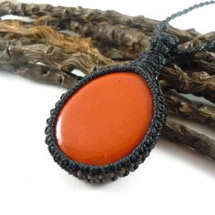 Red Jasper pendant macrame necklace self-control by WrapMeACrystal