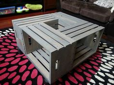 DIY Lori: DIY Crate Coffee Table, another explanation Wooden Crate Coffee Table, Made Coffee Table, Coffee Table Images, Pallet Dining Table, Coffee Table Plans, Coffee Tables For Sale, Coffee Table With Storage, Wooden Crates, Diy Table