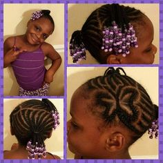 Children's Natural Hairstyles Braided Hearts And Cornrows Kid's Hairstyle  Curly Kids Braids
