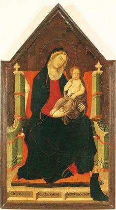Niccolò e Francesco di Segna - Madonna in trono col Bambino e committente - tavola trecentesca - Museo Civico di Lucignano