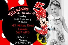10 Personalised Minnie Mouse Birthday Party Invitations