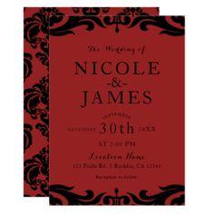 Red & Black Damask Chic Elegant Minimal Wedding Card - bridal shower gifts ideas wedding bride