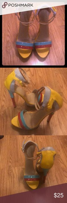 Multi colored Kaleidoscope Sandals ONLY WORN ONCE!! These custom made sandals are a showstopper! Worn once for a fashion show! 5 1/2-6 inch heel Shoes Heels