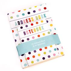 A5 dotty/spotted address book with matching A6 notebook. (planner and jotter pad to match also available)