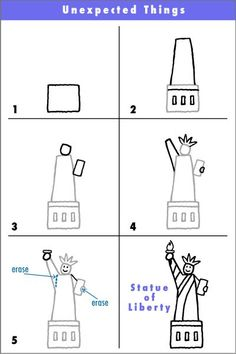 """Here's a quick simple way to draw the Statue of Liberty. The goal? If someone looks at your and says, """"Hey.the Statue of Liberty!"""", then you have succeeded. Often we tell ourself that. Cc Drawing, Drawing For Kids, Drawing Guide, Kindergarten Social Studies, Kindergarten Art, Statue Of Liberty Drawing, Liberty Statue, Formation Management, Cc Cycle 3"""